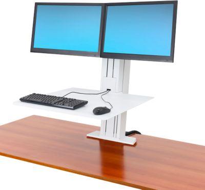 Ergotron WorkFit-SR, Dual-Monitor, Sitz-Steh-Schreibtisch-Arbeitsplatz, weiß