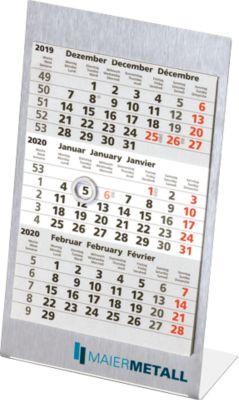 Ersatzkalendarium, für 3-Monats-Kalender Edelstahl, internat. Kalendarium, f. 1 Jahre
