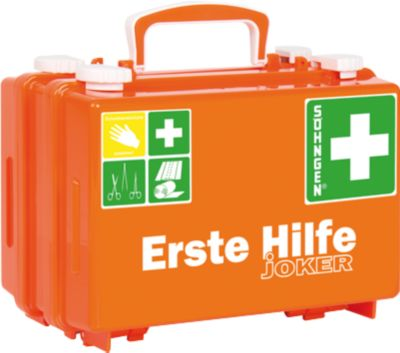 Erste-Hilfe-Koffer Quick-CD Joker, DIN 13157, 3 Ebenen, m. Drehverschlüssen, inkl. Wandhalterung
