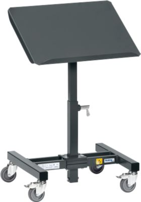 ESD-Materialständer, mit Rollen, höhenverstellbar, 15 °/30 ° neigbar, Stahl, L 510 x B 410 x H 500-755 mm