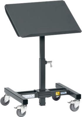 ESD-Materialständer, mit Rollen, höhenverstellbar, 15 °/30 ° neigbar, Stahl, L 510 x B 410 x H 755-1105 mm