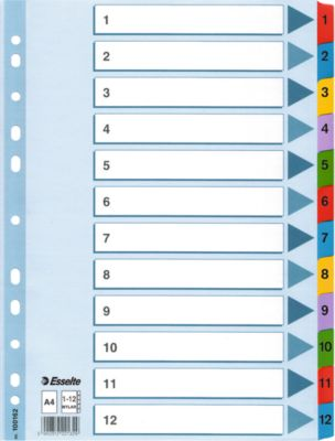 Esselte Karton-Register Mylar,  Zahlen 1-12