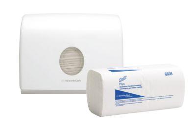 Essuie-mains enchevêtrés SCOTT® PLUS, pliés en zigzag, 1 épaisseur, 2 x 3600 pcs. + distributeur gratuit