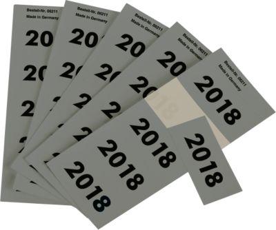 Etiketten Jahreszahl 2018, selbstklebend, grau, 100 Stück
