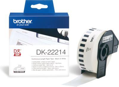 Etiketten/labels op rol voor labelprinters QL witte tape van 12 mm x 30,48 m, papier