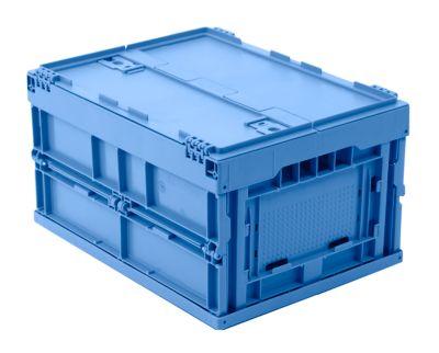EURO-afmetingen vouwbox 4322 DL, met deksel, voor magazijn- en multitransport, inhoud 19 l, blauw