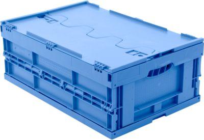 EURO-afmetingen vouwbox 6422 NG DL, met deksel, voor magazijn- en multitransport, inhoud 41,4 l, blauw