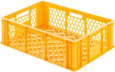 Euro Box Bäcker-Kasten, lebensmittelecht, Inhalt 35,7 L, durchbrochene Version, gelb-orange