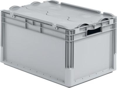 Euro Box Leichtbehälter ELB 6320, aus PP, Inhalt 64 L, mit Deckel, grau