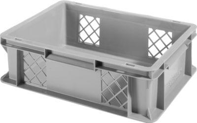 Euro Box Serie EF 4121, aus PP, Inhalt 11,1 L, durchbrochene Wände, Unterfassgriff, grau