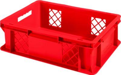 Euro Box Serie EF 4121, aus PP, Inhalt 11,1 L, durchbrochene Wände, Unterfassgriff, rot