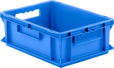 Euro box serie EF 4140, van PP, inhoud 12,8 l, gesloten wanden, greep, blauw