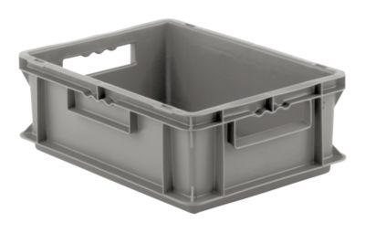 Euro box serie EF 4140, van PP, inhoud 12,8 l, gesloten wanden, greep, grijs