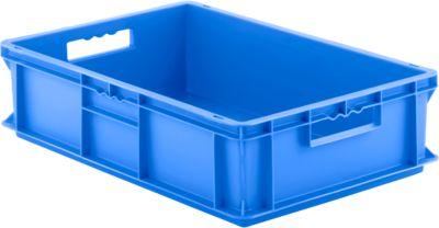Euro Box Serie EF 6150, aus PP, Inhalt 29,4 L, geschlossene Wände, blau, Durchfassgriff