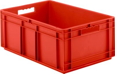 Euro Box Serie EF 6240, aus PP, Inhalt 47,5 L, geschlossene Wände, rot, Durchfassgriff