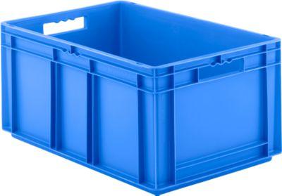 Euro Box Serie EF 6280, aus PP, Inhalt 56,6 L, geschlossene Wände, blau, Durchfassgriff