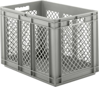 Euro Box Serie EF 6421, aus PP, Inhalt 83,8 L, durchbrochene Wände, grau, Durchfassgriff