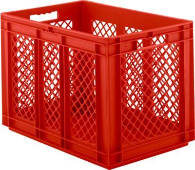 Euro Box Serie EF 6421, aus PP, Inhalt 83,8 L, durchbrochene Wände, rot, Durchfassgriff