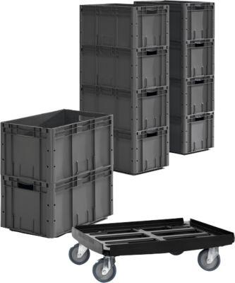 Euro Box serie LTF 6320, zonder deksel, PP, L 594 x B 396 x H 320 mm, 62,7 l, tot 35 kg, 10 stuks + verrijdbaar kunststof frame gratis