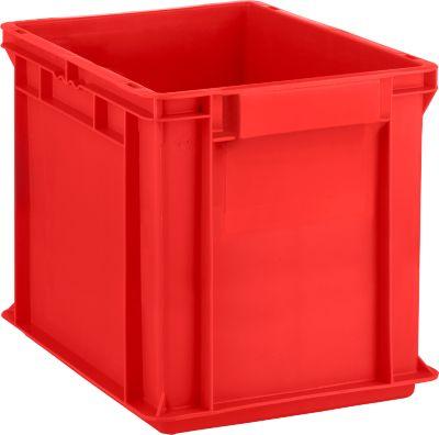 Eurobox serie EF 4320, uit PP, inhoud 29,5 L, gesloten wanden, bodemgreep, rood
