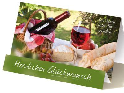 Extraknick-Glückwunschkarte Wein und Brot, mit 3D-Effekt, mit Umschlag