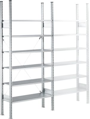 Fachbodenregal SSI Schäfer R3000, Grundregal, 5 beschichtete Böden, B 1055 x H 1960 mm, 100 kg