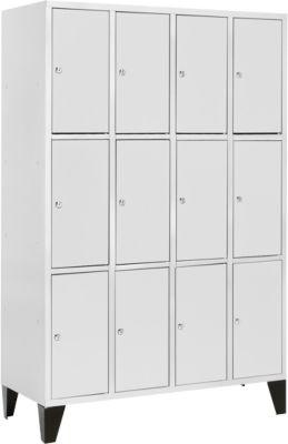 Fächerschrank, 4 x 3, Abteil 300 mm, lichtgrau/lichtgrau, Füße