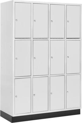 Fächerschrank, 4 x 3, Abteil 300 mm, lichtgrau/lichtgrau, Sockel