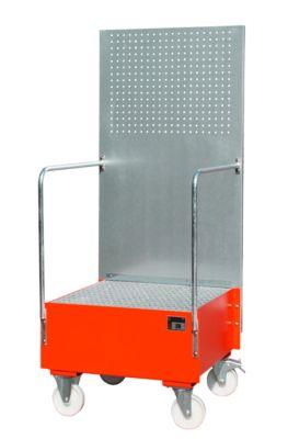 Fahrbare Auffangwanne mit Lochplattenwand, aus Stahl, Kapazität 1 x 200-Liter Fass, rot