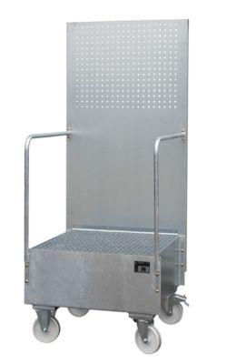 Fahrbare Auffangwanne mit Lochplattenwand, aus Stahl, Kapazität 1 x 200-Liter Fass, verzinkt
