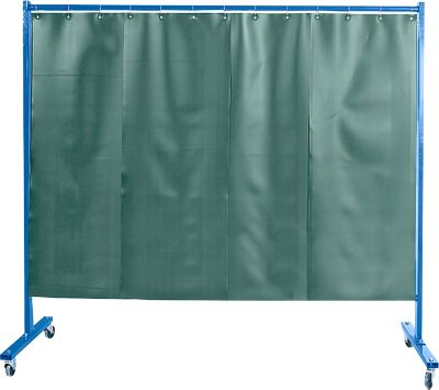 Fahrbare Schutzwand m. Folienvorhang, 1-tlg., dunkelgrün