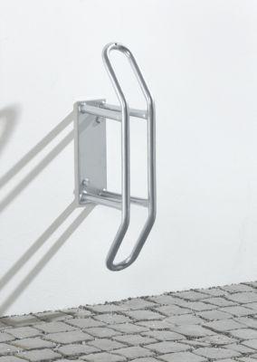 Fahrrad Wandparker WSM, 90° gerade, f. Reifen bis B 55 mm, B 250 x T 230 x H 540 mm, Stahl pulverbesch., 1 Einstellpl.