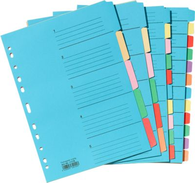 Farbiges Kartonregister, einzeln, Überbreite, 5 Fächer