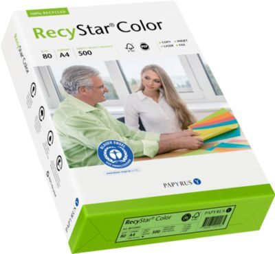 Farbiges Kopierpapier Papyrus RecyStar Color, DIN A4, 80 g/m², moosgrün, 1 Paket = 500 Blatt