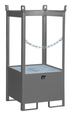 Fass-Stapelpalette Bauer FSP-1, seitlich offen, Kap. 1 x 200 l Fass, grau