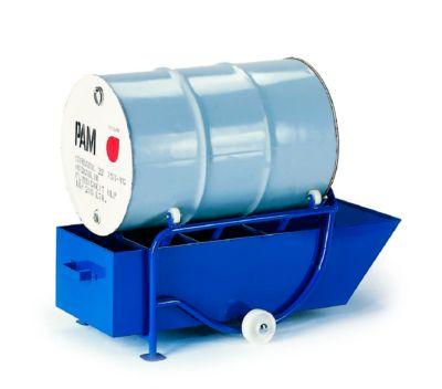 Fasskippbock 200 l, mit 2 Standfüßen und Ölauffangwanne, Fassauflage: 4 Polyamidrollen