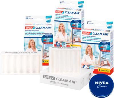 Feinstaubfilter tesa® Clean Air®, für Drucker/Fax/Kopierer, Größe M + 1 x 75 ml Dose Nivea-Creme GRATIS