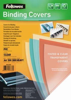 Fellowes Deckblatt PVC, transparent, DIN A4, für Draht- und Plastikbindemaschinen, 300 µm, 100