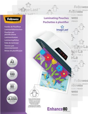 Fellowes® Lamineerfoliehoesjes, A3, 80 micron, 100 stuks