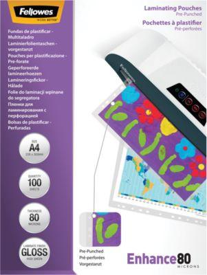 Fellowes® Lamineerhoesjes, geperforeerd, A4, 80 micron, pak van 100 stuks