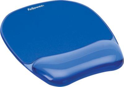 Fellowes® Muismat met Gel-polssteun Crystal, blauw