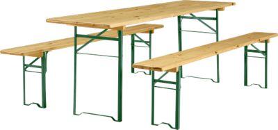 Festzeltgarnitur, 1 Tisch und 2 Bänke, extra groß, 3er-Set