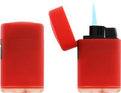 Feuerzeug Atomic Jet, mit Soft-Touch-Oberfläche, regulierbare Flamme, nachfüllbar, rot
