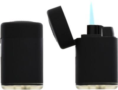 Feuerzeug Atomic Jet, mit Soft-Touch-Oberfläche, regulierbare Flamme, nachfüllbar, schwarz