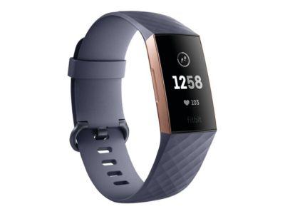 Fitbit Charge 3 - rotgold - Aktivitätsmesser mit Sportband - blaugrau