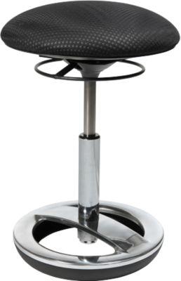 Fitness-kruk Sitness Bob, ergonomisch zitten, zithoogte 440 tot 570 mm, zwart, onderstel verchroomd