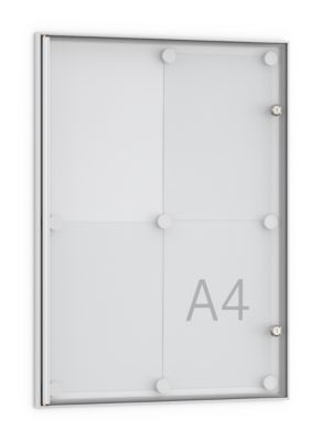 Flach-Schaukasten, spitz, 4 x DIN A4, Acryl-Ganzglastür