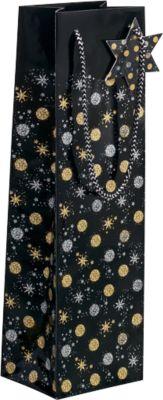 Flaschen-Geschenktasche Sigel Stardust, mit Kordeln & Geschenkanhänger, Papier, schwarz mit gold-silbernen Sternen/Kreisen