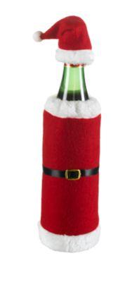 Flaschendekoration, Beutel als Nikolaus-Mantel mit Mütze