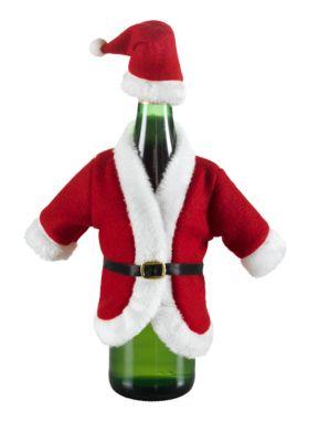 Flaschendekoration, Nikolaus-Mantel mit Mütze